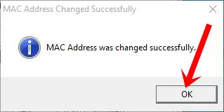 Thông báo đổi địa chỉ MAC thành công