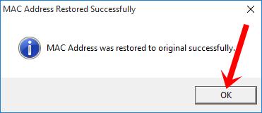 Thông báo khôi phục địa chỉ MAC gốc của máy tính thành công