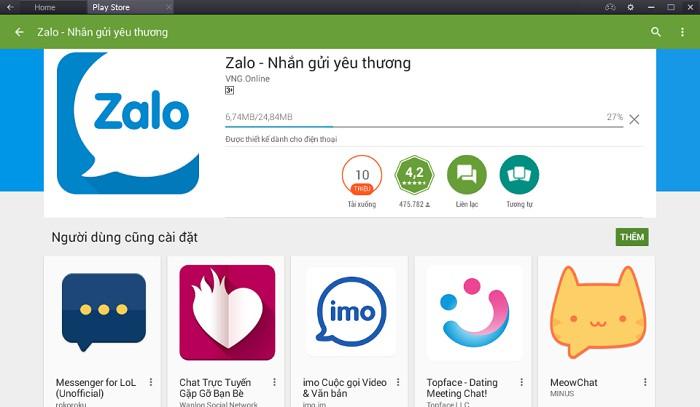 Tải về và cài đặt ứng dụng Zalo