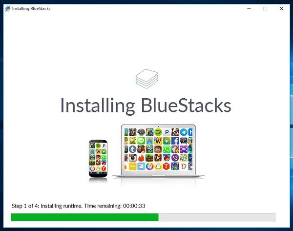 Bắt đầu cài đặt phần mềm BlueStacks