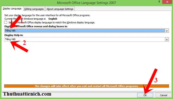Hướng dẫn cài đặt tiếng Việt cho bộ phần mềm Microsoft Office 2007