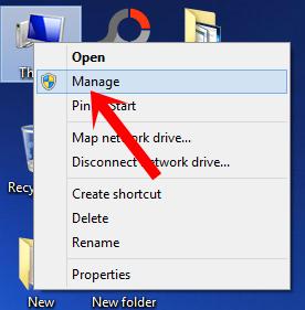Nhấn chuột phải lên biểu tượng My Computer (This PC) chọn Manager