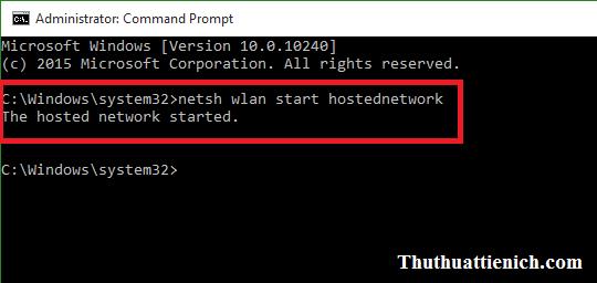 Nhập lệnh phát wifi