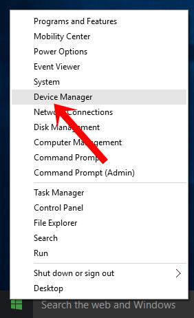 Nhấn chuột phải vào nút Start chọn Device Manager