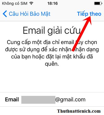 Nhập email giải cứu hoặc không nhập rồi nhấn nút Tiếp theo