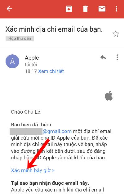Mở email đó và nhấn vào dòng Xác minh bây giờ