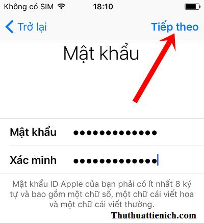 Nhập mật khẩu rồi nhấn nút Tiếp theo