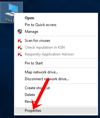Nhấn chuột phải vào My Computer (This PC) chọn Properties