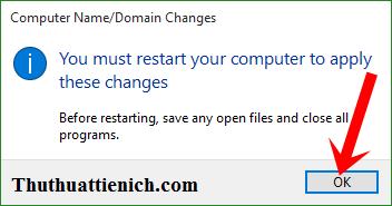 Thông báo khởi động lại máy tính để áp dụng thay đổi