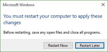 Nhấn nút Restart Now để khởi động lại ngay và Restart Later để khởi động lại sau