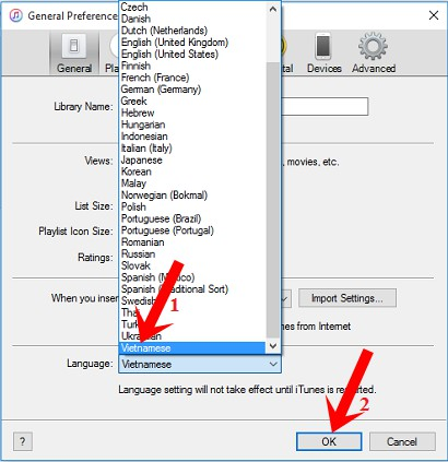 Chọn Vietnamese trong phần Language rồi nhấn nút OK