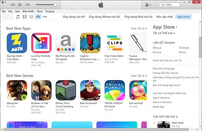 iTunes ngôn ngữ tiếng Việt