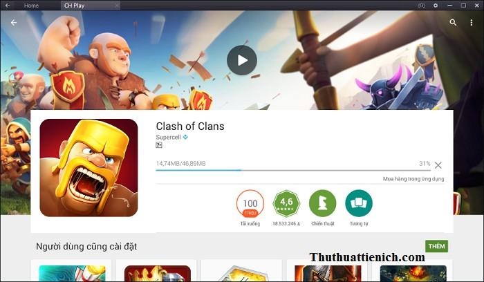 Bắt đầu quá trình tải về và cài đặt game Clash of Clans
