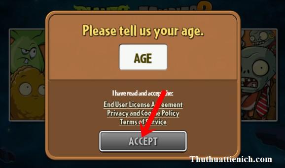 Nhập tuổi > 18 để có thể chơi game
