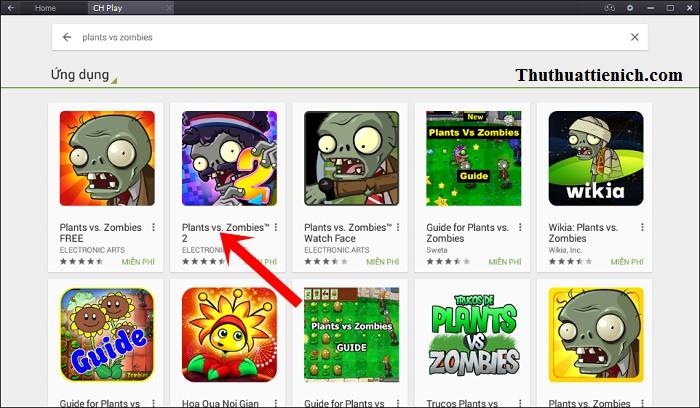 Chọn game Plants vs Zombies 2 trong kết quả tìm kiếm