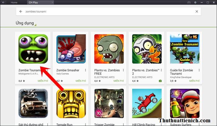 Chọn game Zombie Tsunami trong kết quả tìm kiếm
