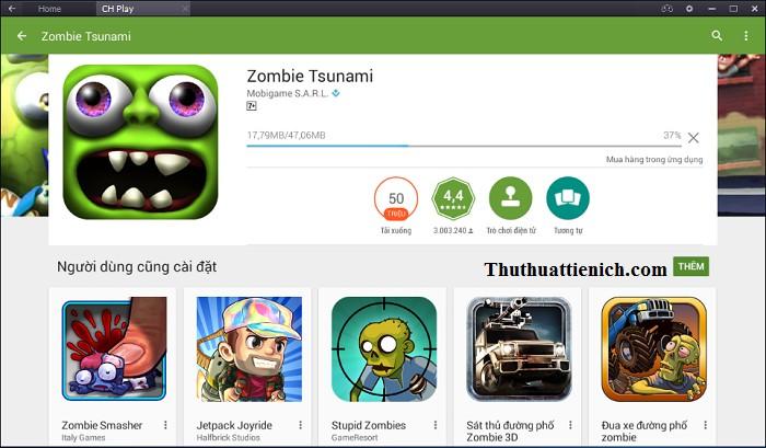 Bắt đầu quá trình tải về và cài đặt game Zombie Tsunami