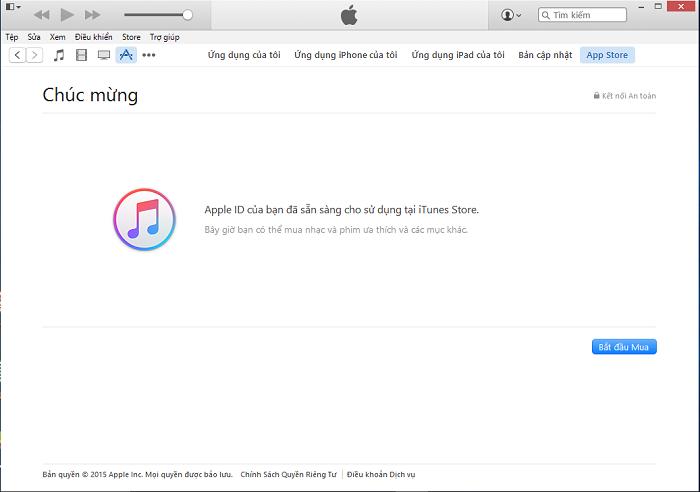 Chúc mừng bạn tạo tài khoản iTunes xong