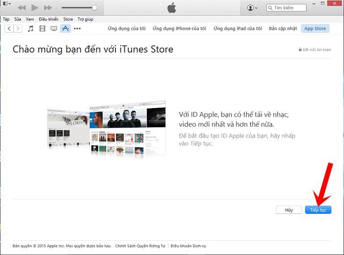 Nhấn nút Tạo ID Apple