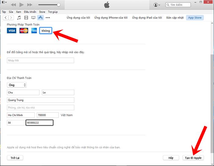 Nhập các thông tin rồi nhấn nút Tạo ID Apple