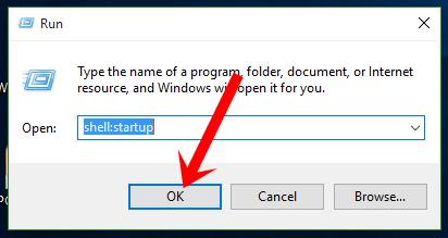 Nhập lệnh shell:startup rồi nhấn nút OK