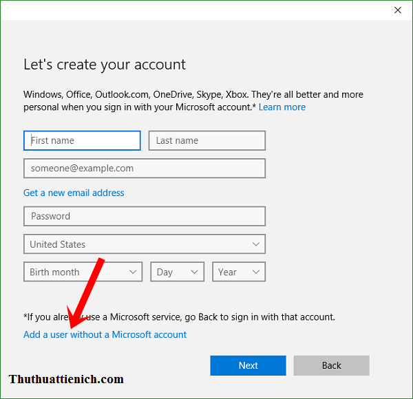 Nhấn vào dòng Add a user without a Microsoft account