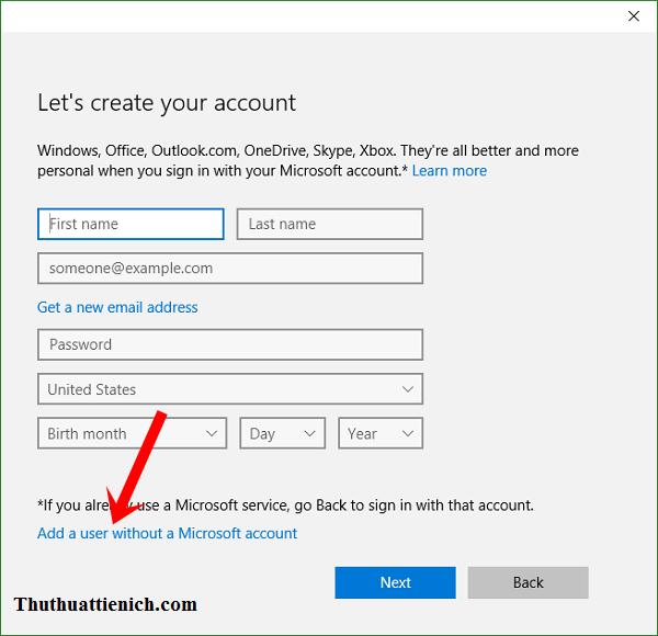 Nhấn vào dòng Add a user without a Microsoft account