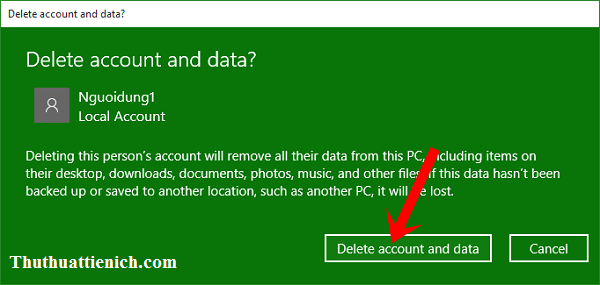 Nhấn nút Delete account and data