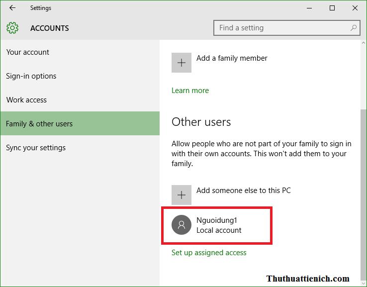 Tạo thành công tài khoản người dùng mới trên Windows 10