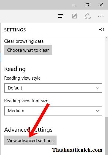 Nhấn nút View advanced settings