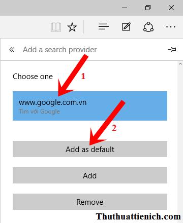 Chọn www.google.com.vn rồi nhấn nút Add as default