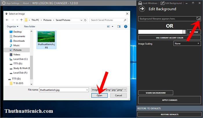 Chọn ảnh làm hình nền cửa sổ đăng nhập Windows