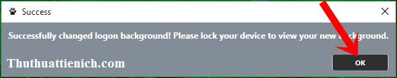 Thông báo đổi hình nền cửa sổ đăng nhập Windows thành công