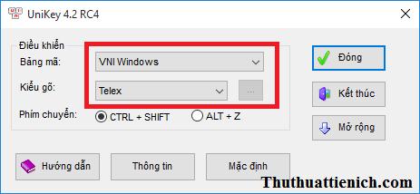 Thiết lập bảng mã và kiểu gõ cho Unikey