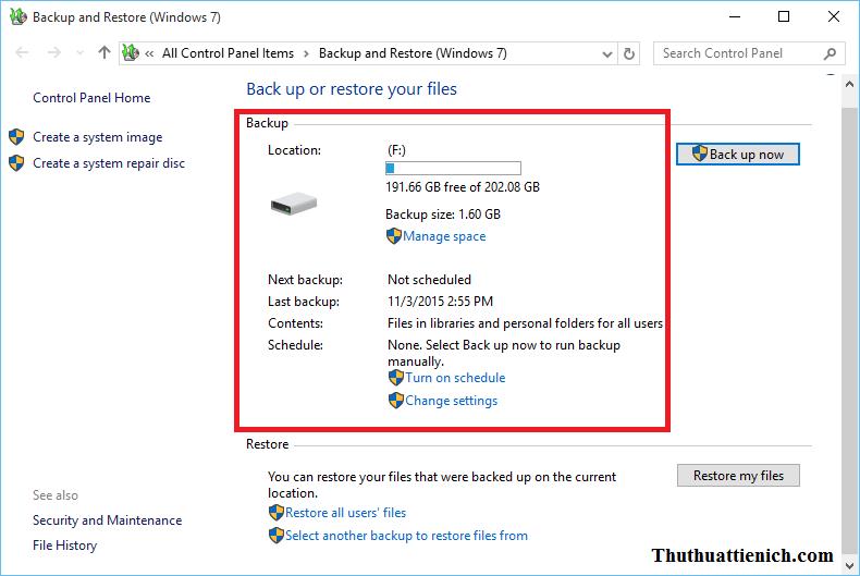 Backup Windows 10 xong