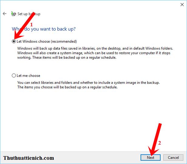 Chọn Let Windows Choose rồi nhấn nút Next