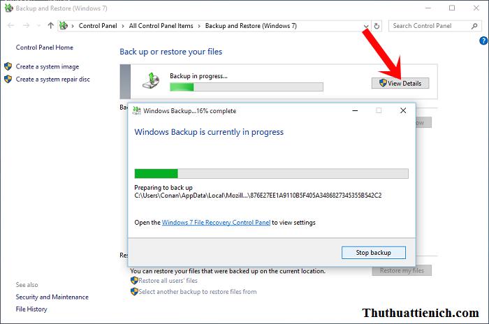 Bắt đầu quá trình backup Windows 10