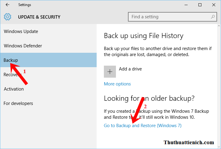 Chọn Backup -> Go to Backup an Restore (Windows 7)