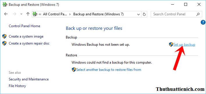 Nhấn vào dòng Set up backup