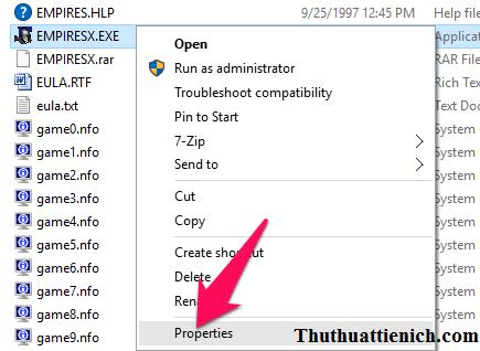 Nhấn chuột phải lên file chạy game chọn Properties