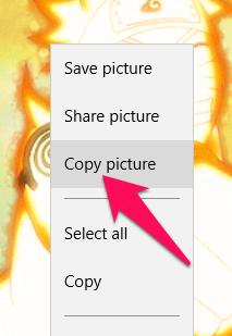 Nhấn chuột phải lên ảnh GIF chọn Copy picture