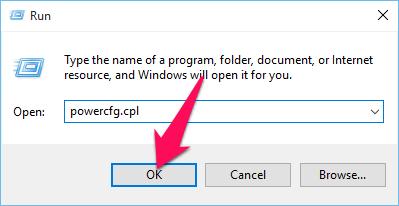 Nhấn Windows + R rồi nhập lệnh powercfg.cpl, sau đó Enter