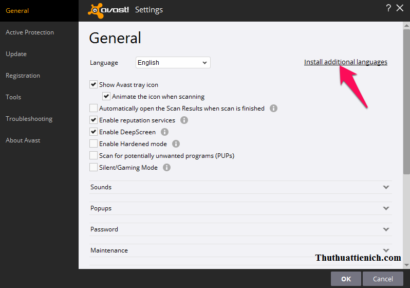 Nhấn vào dòng Install additional languages