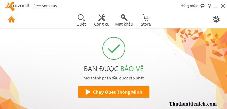 Giao diện phần mềm diệt virus Avast với ngôn ngữ tiếng Việt