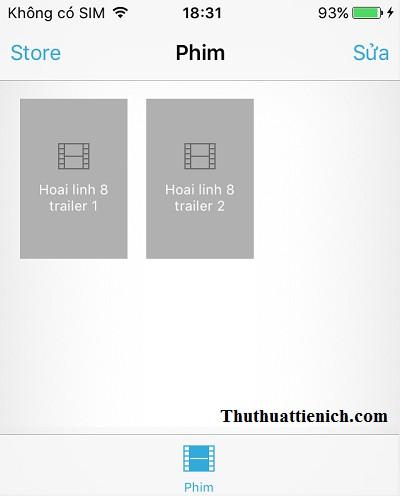 Video/phim đã được chép vào iPhone/iPad
