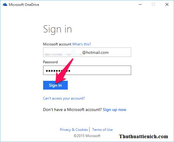 Nhập tài khoản Microsoft của bạn rồi nhấn nút Sign in