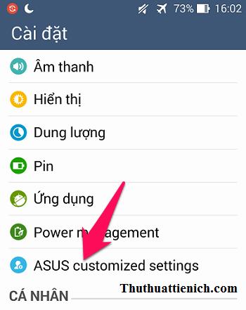 Mở Cài đặt, chọn ASUS customized settings