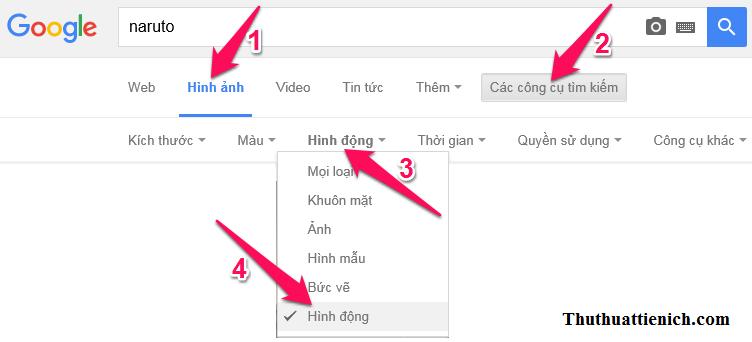 Cách tìm kiếm ảnh GIF (ảnh động) với Google