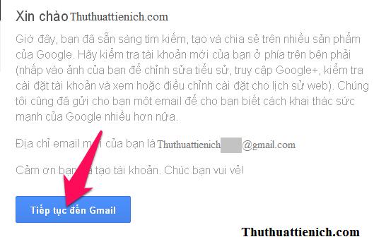Nhấn nút Tiếp tục đến Gmail