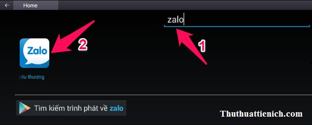 Tìm kiếm ứng dụng Zalo